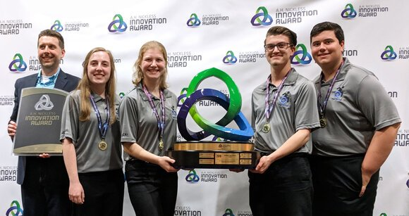 Chemic Portal from Midland High School took first place in the 2018-2019 A.H. Nickless Innovation Award competition. Left to right: Coach Robert Fox, Team Leader Olivia Johnson, Hannah Sawicki, Ian Sandford and Jared Gonder.