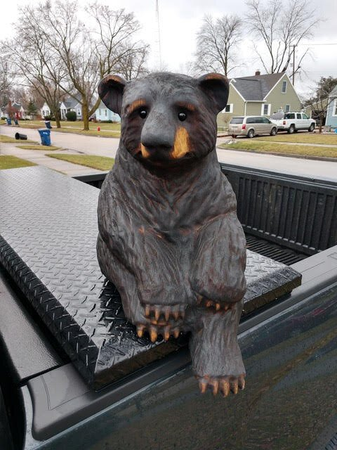 Tom Gillman's chainsaw art usually highlights nature in the former of bears, eagles, wolves, and other animals.