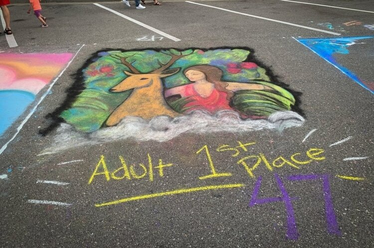 Sarah Duncan was the 1st place winner in the Adult Division of the 2019 Bay City Chalk Walk Art Festival.