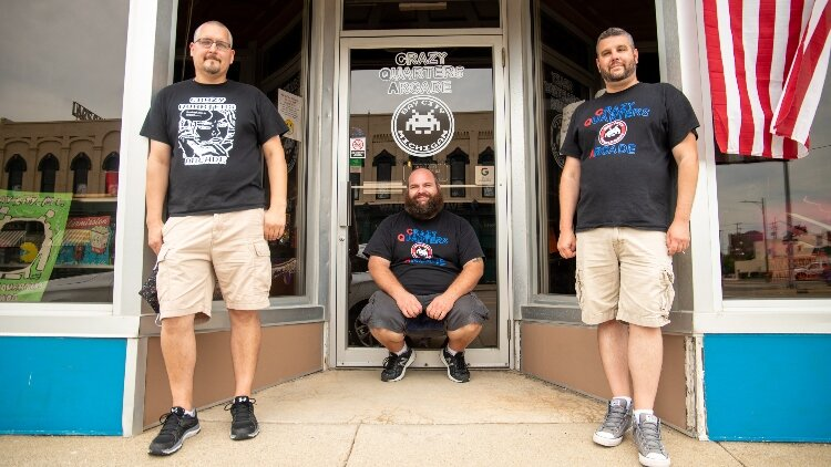From left, Chris Exo, Jeff Palmer, and Brentt Brunner opened Crazy Quarters Arcade in Downtown Bay City early in 2020, before COVID-19 social distancing restrictions changed businesses. The arcade closed for a brief time, but is set to re-open in a l
