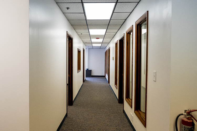 A section of the first floor contains a series of newly-developed offices.
