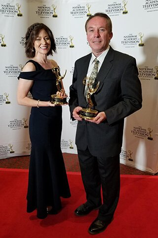 Delta College's Kim Wells and Bob Przbylski each won an Emmy during an award ceremony held in June.