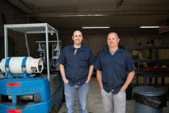 Garrett O'Brien, at right, and Ben Davis founded BGT Aerospace in Bangor Township in 2017.