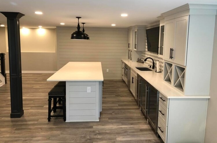 Heather Keit helped remodel a basement into a kitchen and family room for a family.