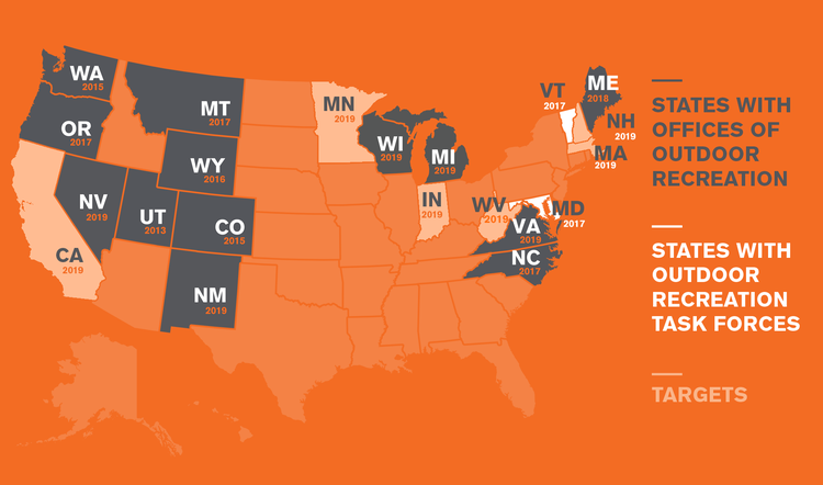 Support for the outdoor industry by state.