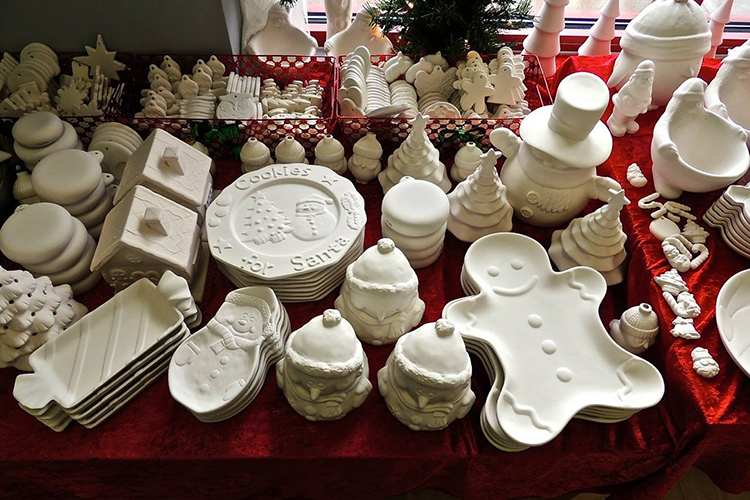 Holiday pottery waiting to be painted at Painterly Pottery