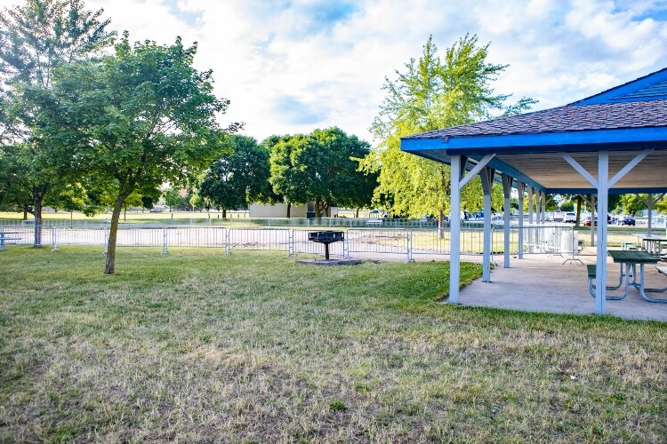 An existing pavilion near Play City offers a place to get out of the sun and enjoy a snack or picnic lunch.