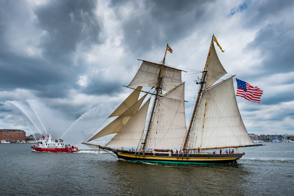 The Pride of Baltimore II is a topsail schooner that has appeared in every Bay City Tall Ships festival since 2001.