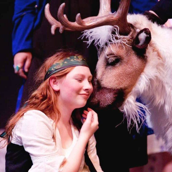 A reindeer puppet, created by Kristen Phillips Gray, is amazing audiences at the Bay City Players.