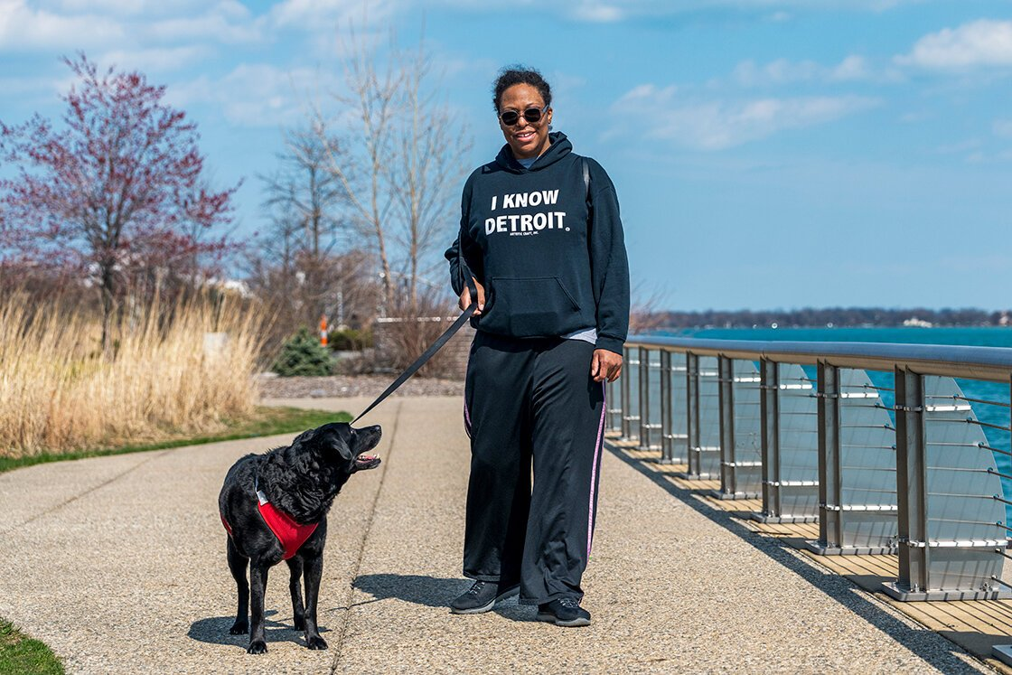"""It's a nice and easy walk for me and my dog,"" says Detroiter Tremaine Redcliff.  Photo by Doug Coombe."