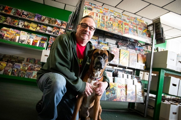 John Cashman's dog, Petey, is the store's unofficial mascot.