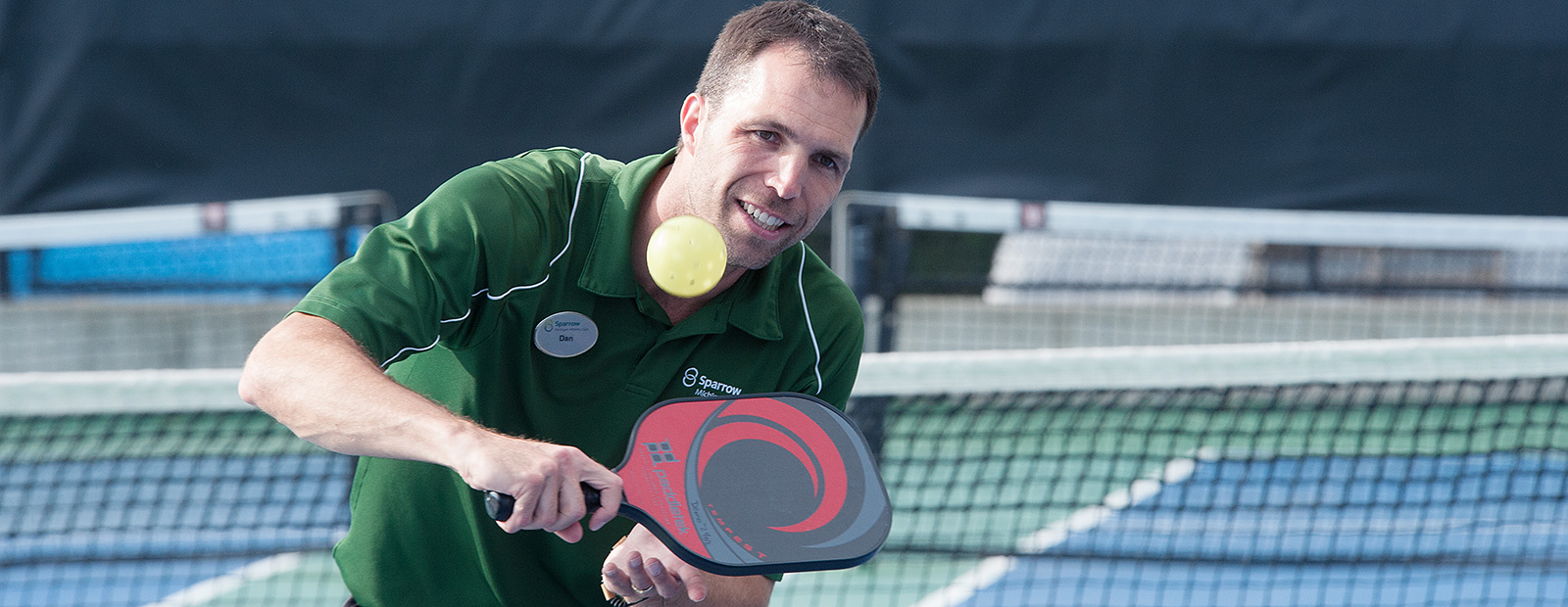 Daniel Howard playing Pickle Ball at he MAC - Photo Dave Trumpie