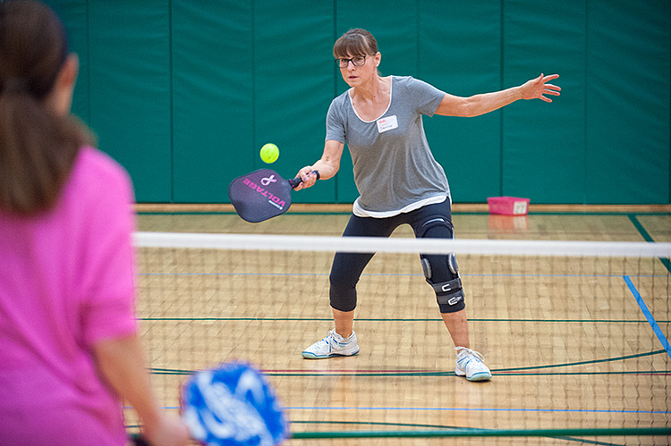 Pickleball action at East Lansing Hannah Center  - Photo Dave Trumpie