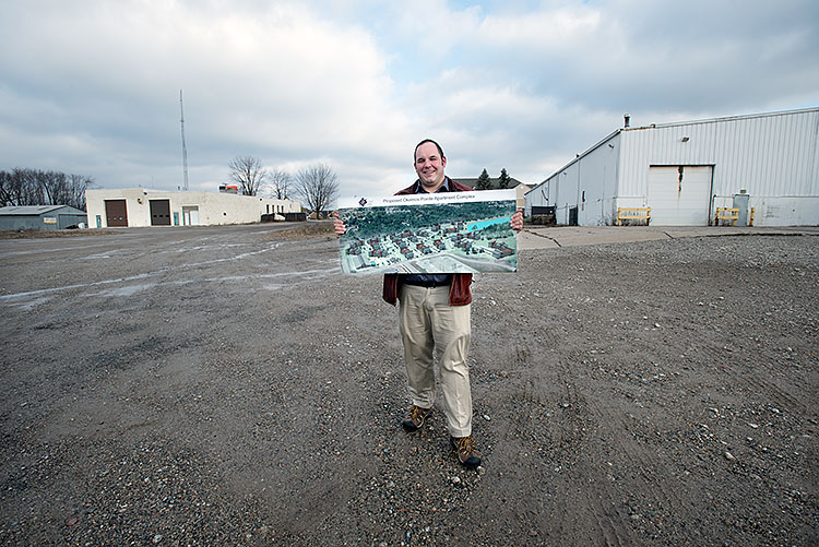 Brent Forsberg at the site of his future Okemos project - Photo Dave Trumpie