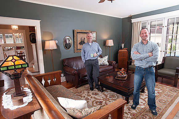 Ted O�Dell (lft) and John Granger in their 20s home - Photo Dave Trumpie