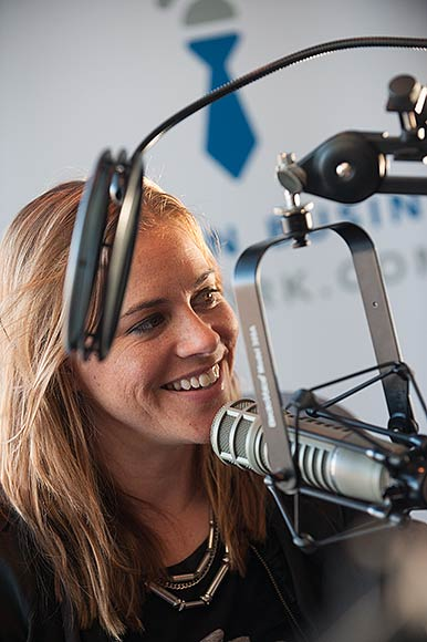 Allison McClintick recording her radio show - Photo �Dave Trumpie