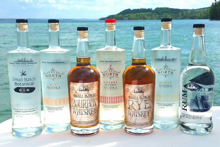 Some of the many spirits by Grand Traverse Distillery