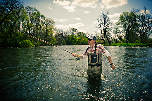 Mike Schultz fly fishing in the Huron River in Depot Town