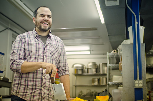 Brad Greenhill in the kitchen he shares with Jerusalem Garden