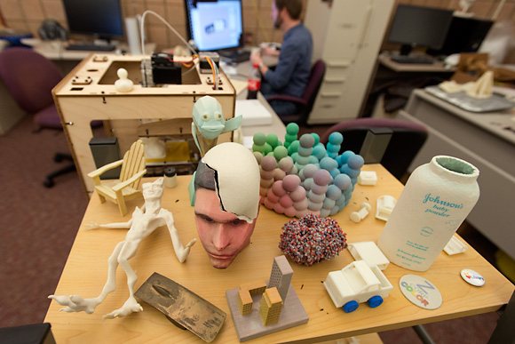 Projects from the 3D Printers at the U of M 3D Lab await pickup