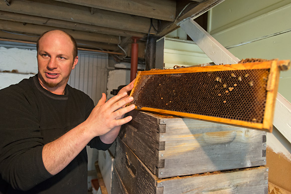 Jason Gold with a beehive frame at the Michiga