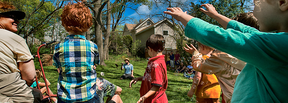Charlie Slick's bubble machine is a hit at the Water Hill Music Festival, Ann Arbor