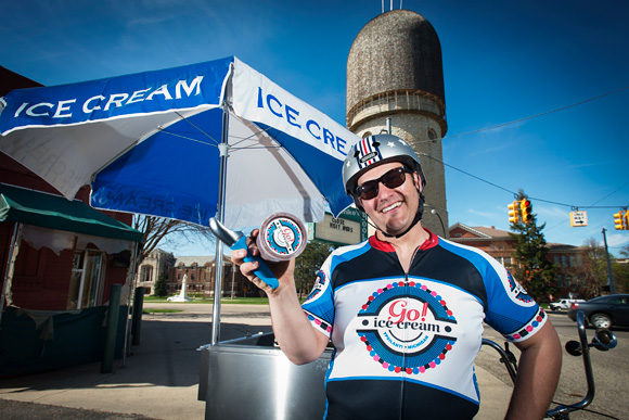Rob Hess serving up Go! Ice Cream from his 1946 Worksman tricycle