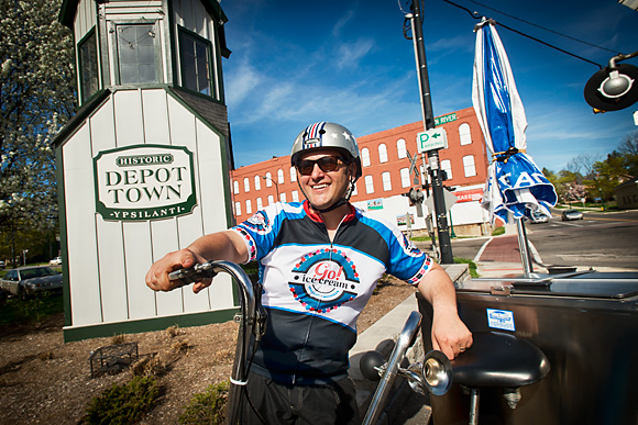 Rob Hess and his ice cream bike in Depot Town