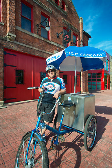 Rob Hess and his ice cream bike at the Michigan Firehouse Museum