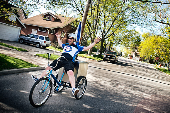 Rob Hess riding home on his ice cream bike