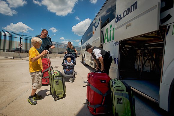 The Ott family arrives at Metro Airport via AirRide