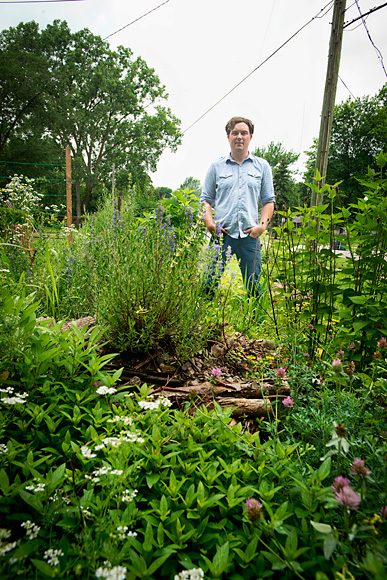 Jesse Tack and his herb spiral garden