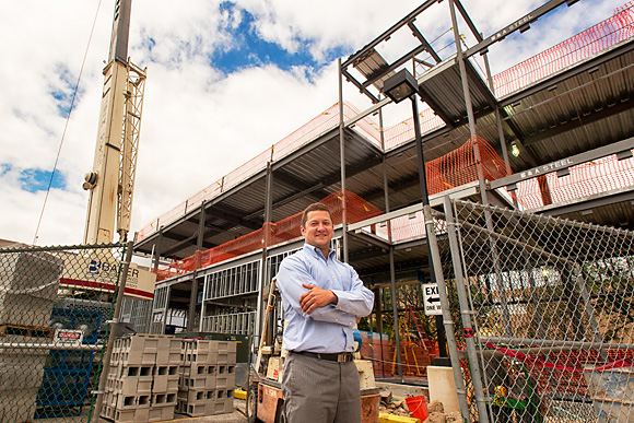 Ryan Buck at the site of the Blake Transit Center expansion