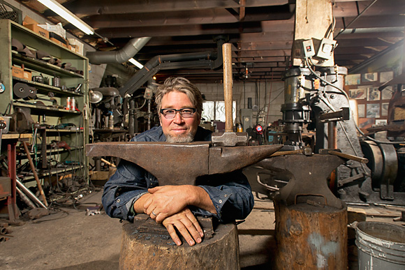 Jim Roth at Scott Lankton's blacksmith studio