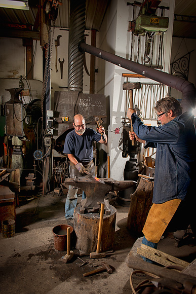 Scott Lankton and Jim Roth at Scott's blacksmith studio