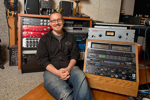 Eric Wojahn in the control room of Solid Sound