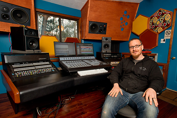 Eric Wojahn in the mixing room at Solid Sound