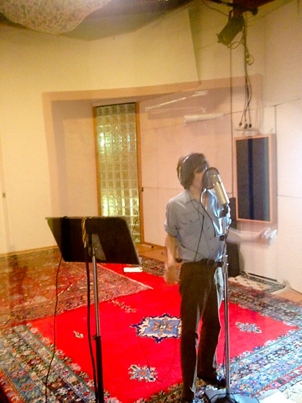 Ian Svenonius recording at World Class Tapes - photo courtesy Fred Thomas