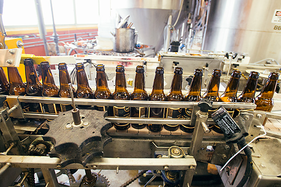 The bottling line at Corner Brewery, Ypsilanti