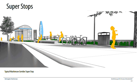 One of the ReImagine Washtenaw's concepts for improved transit super stops on Washtenaw Avenue