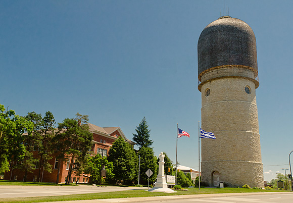 The Ypsilanti Water Tower at the eastern end of the Washtenaw Avenue corridor