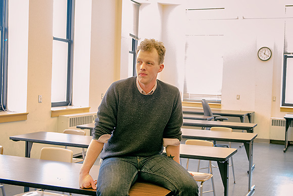 Ben Connor Barrie in a classroom he teaches in at the Dana Building at U of M
