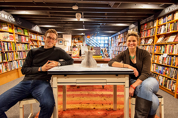 Mike Gustafson and Hilary Lowe at Literati Bookstore