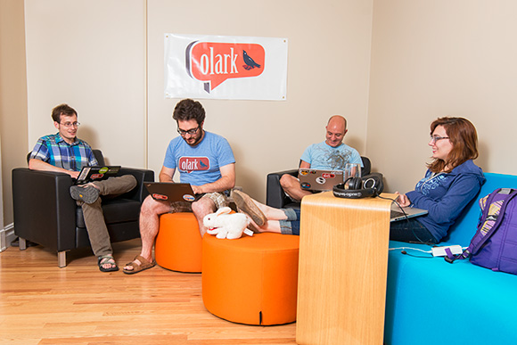 Zach Steindler, Brandon Dimcheff, Nick Oliverio and Madalyn Parker at the Olark offices
