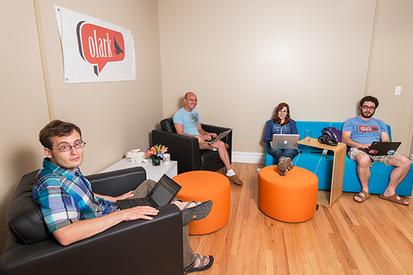 Zach Steindler, Nick Oliverio, Madalyn Parker and Brandon Dimcheff at the Olark offices