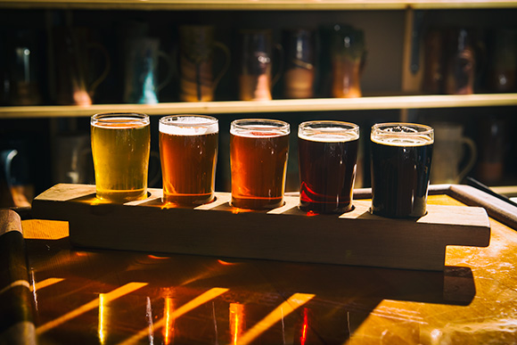 A beer flight at the Chelsea Alehouse