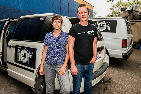 Helen Harding and Blake Reetz with eat's catering vans