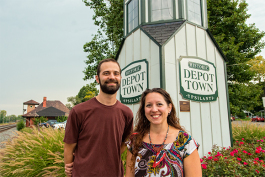 Jeff Yoder and Adrianne Clarke in Depot Town in Ypsilanti