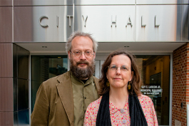 Dave Askins and Mary Morgan at Ann Arbor City Hall