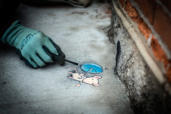 David Zinn drawing on Liberty Street in Ann Arbor